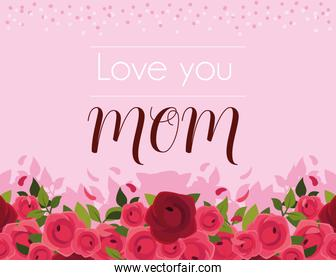 beautiful greeting card with label love you mom