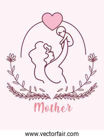 silhouette of mother with baby, label mother