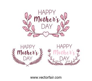 set of cards with label happy mothers day