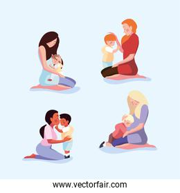 set of cards with woman and son, mothers day