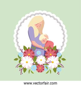 woman and son, card of the mother day