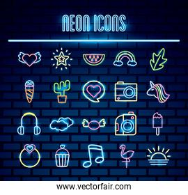 bundle of neon lights set icons