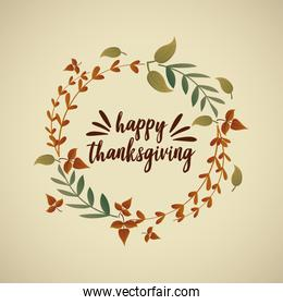 card with label happy thanksgiving and autumn leaves