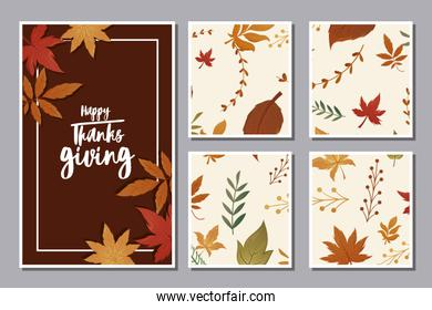 set of cards with label happy thanksgiving and autumn leaves