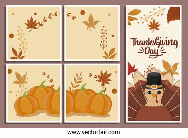set of cards with label happy thanksgiving