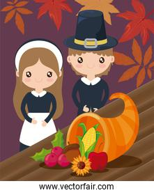couple of pilgrims with autumn leaves