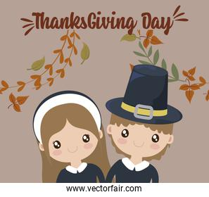 Woman man cartoon and leaves of thanksgiving day vector design