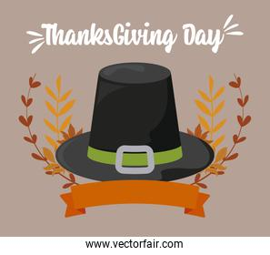 Black hat and leaves of thanksgiving day vector illustration