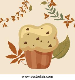 Muffin and leaves of thanksgiving day vector design