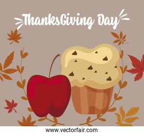 Apple muffin and leaves of thanksgiving day vector design