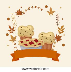 Muffins cake and leaves of thanksgiving day vector design