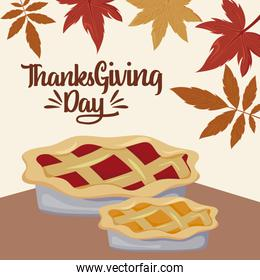 Cakes and leaves of thanksgiving day celebration