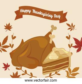 Cake chicken and leaves of thanksgiving day vector design