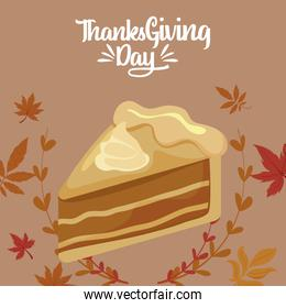 Cake and leaves of thanksgiving day vector design