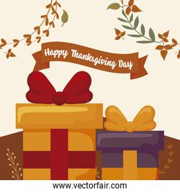 Gifts and leaves of thanksgiving day vector design
