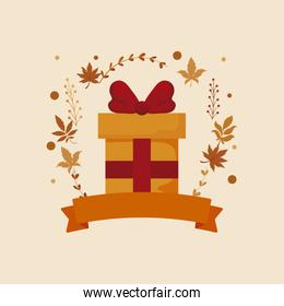 Gift and leaves of thanksgiving day vector design