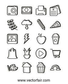 bundle of doodle set icons