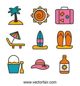 bundle of beach set line and fill icons