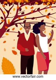Couple and leaves in autumn season vector design