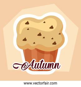 Muffin of autumn season vector design