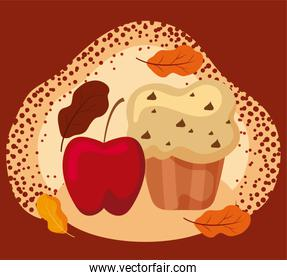Muffin and apple of autumn season vector design