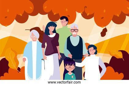 Family and leaves in autumn season vector design