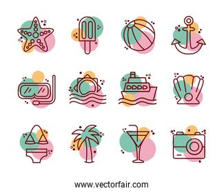 bundle of beach set line and color icons