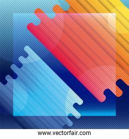 Blue and orange liquid shape vector design