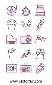 bundle of party set icons
