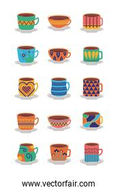 bundle of ceramic dishes and cups icons