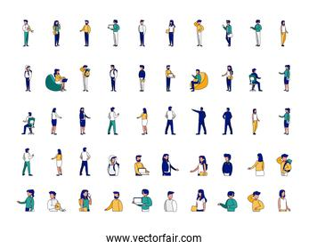 Isolated set of businesspeople and students vector design