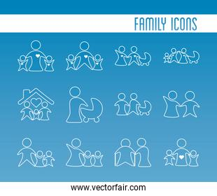 bundle of parents silhouettes and lettering degradient style
