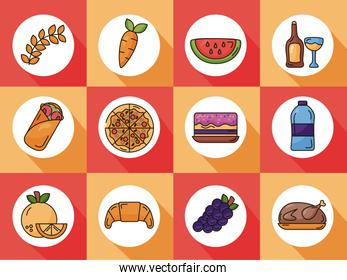 bundle of delicious food set icons