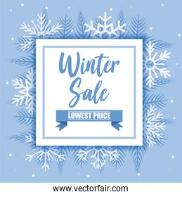 Winter sale with snowflakes vector