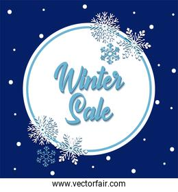 Winter sale with snowflakes and seal stamp vector design