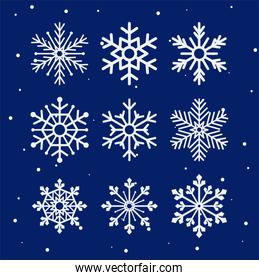 Snowflakes of winter season vector design