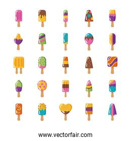 bundle of popsicles set icons