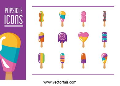 pack of ice creams set icons and lettering