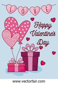 Hearts and gifts of valentines day vector design