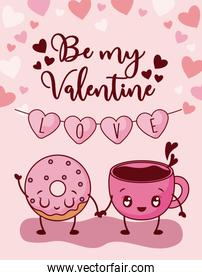Donut and coffee cup of valentines day vector design