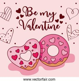 Donuts and hearts of valentines day vector design