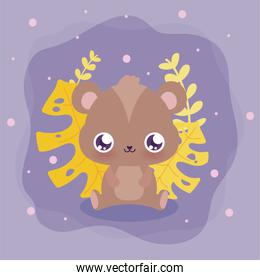 kawaii bear cartoon with leaves vector design