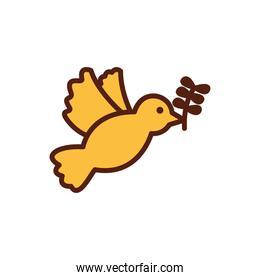 dove flying with olive branch icon