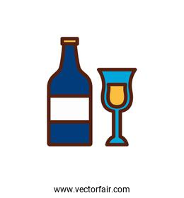 champagne bottle and cup icon