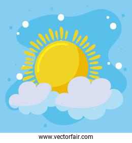 Summer sun and clouds vector design