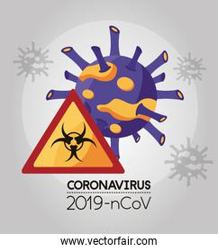 covid 19 particle and biohazard signal