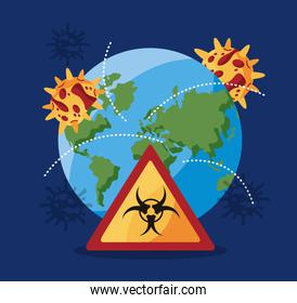 world planet earth with covid 19 particle and biohazard signal