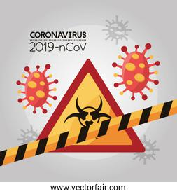 covid 19 particles and biohazard signal