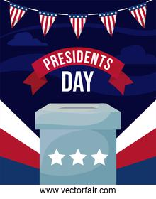 Vote box and banner of usa happy presidents day vector design