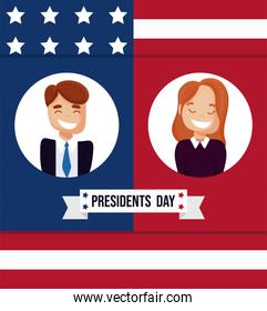 Woman and man of usa happy presidents day